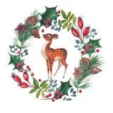 Ilustração da aquarela da grinalda de Cristmas com azevinho e cervos ilustração royalty free