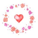 Ilustração da aquarela para Valentine& x27; dia de s com grinalda e coração da flor Fotos de Stock