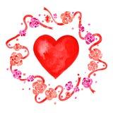 Ilustração da aquarela para Valentine& x27; dia de s com grinalda e coração da flor Fotos de Stock Royalty Free