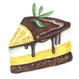 Ilustração da aquarela da parte de bolo de chocolate imagens de stock royalty free