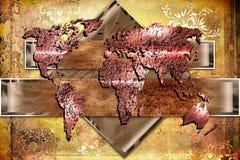 Ilustração da arte do projeto da pintura do mapa do mundo ilustração royalty free
