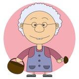 A ilustração da avó com uma cesta e os cogumelos Fotografia de Stock Royalty Free