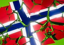 Ilustração da bandeira 3d de Noruega do colapso do estado rendida ilustração do vetor