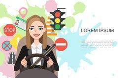 Ilustração da bandeira das mulheres de negócios que conduzem um carro Grupo de símbolos da estrada e de caráter do motorista da m imagens de stock royalty free