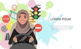 Ilustração da bandeira de símbolos da estrada e do caráter árabe das mulheres de negócios do motorista Imagem de Stock