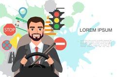 Ilustração da bandeira do homem de negócios que conduz um carro Grupo de símbolos da estrada e de caráter do motorista fotos de stock royalty free