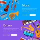 Ilustração da bandeira da Web dos instrumentos musicais dos desenhos animados do vetor ilustração royalty free