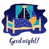 Ilustração da boa noite com lua do sono Imagens de Stock