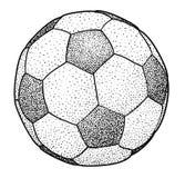 Ilustração da bola de futebol, desenho, gravura, tinta, linha arte, vetor Foto de Stock