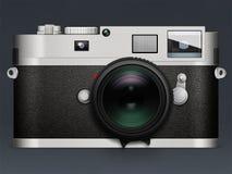 Ilustração da câmera Leica no fundo cinzento com reflexão Fotos de Stock Royalty Free