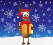 Ilustração da caixa de presente do Natal da rena Fotos de Stock