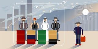 Ilustração da carta do preço do petróleo com personagens ilustração royalty free