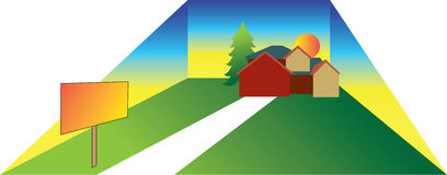 Ilustração da casa de Lage com sinal Ilustração do Vetor