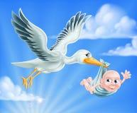 Ilustração da cegonha e do bebê Fotografia de Stock Royalty Free