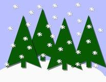 Ilustração da cena da queda de neve da floresta Imagens de Stock