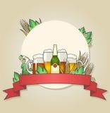 Ilustração da cerveja clara e escura com trigo e lúpulos Imagens de Stock