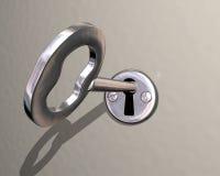 Ilustração da chave brilhante que está sendo girada no fechamento Imagem de Stock Royalty Free