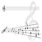 Ilustração da chave do violino e do vetor das notas Foto de Stock