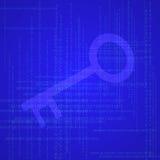 Ilustração da chave e do código binário Imagens de Stock