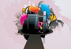 Ilustração da cidade dos desenhos animados Imagem de Stock