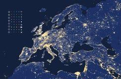 A ilustração da cidade e da comunicação de Europa ilumina o mapa Fotografia de Stock Royalty Free