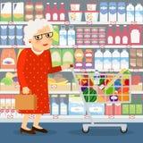 Ilustração da compra da avó ilustração do vetor