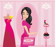 Ilustração da compra da menina da forma ilustração do vetor