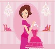 Ilustração da compra da menina da forma ilustração royalty free