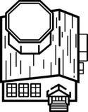 Ilustração da construção de biblioteca - linhas limpas ilustração do vetor