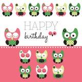 Ilustração da coruja do feliz aniversario Foto de Stock Royalty Free