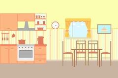Ilustração da cozinha com mobília da cozinha Foto de Stock Royalty Free