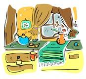 Ilustração da cozinha engraçada Foto de Stock