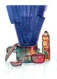 Ilustração da cozinha por marcadores Foto de Stock