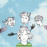 Ilustração da criança com os primos em torno dele Fotos de Stock Royalty Free