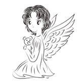 Ilustração da criança dos angel's com um brinquedo em um estilo da garatuja SK Imagens de Stock Royalty Free