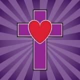 Ilustração da cruz e do coração ilustração royalty free