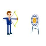 Ilustração da curva de Hits Target With do homem de negócios Imagens de Stock