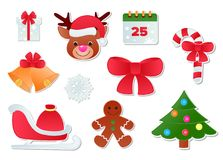 Ilustração da decoração do ano novo dos ícones do vetor do Natal de símbolos festivos do ornamento dos cristãos do Xmas ilustração stock