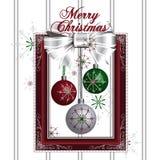 Ilustração da decoração do Natal com quadro vermelho Imagem de Stock Royalty Free