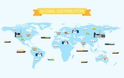 Ilustração da distribuição internacional no mapa do mundo com plantas, armazéns do transporte, lojas Foto de Stock