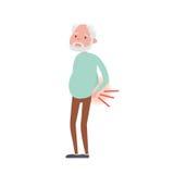 Ilustração da dor lombar no homem superior Ilustração do vetor ilustração royalty free