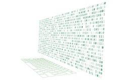 ilustração da elevação - teclado e monitor da tecnologia com número binário Imagem de Stock Royalty Free