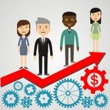 Ilustração da equipe do homem de negócios no gráfico da seta Imagens de Stock Royalty Free