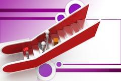 ilustração da escada rolante do homem 3d Fotografia de Stock