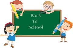 A ilustração da escola feliz caçoa desenhos animados De volta ao conceito da escola ilustração royalty free