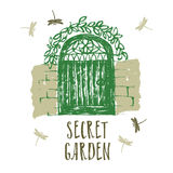 Ilustração da escova do cartão do projeto do jardim secreto ilustração do vetor