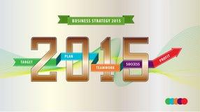 Ilustração da estratégia do ano de negócio (explique o alvo, o plano, o trabalho da equipe, o sucesso e o lucro) para a apresenta Foto de Stock Royalty Free