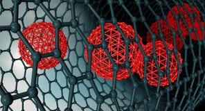 Ilustração da estrutura atômica de Graphene - vagabundos da nanotecnologia Imagem de Stock