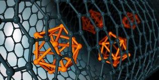 Ilustração da estrutura atômica de Graphene - vagabundos da nanotecnologia Fotografia de Stock