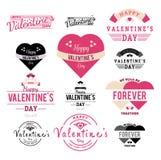 Ilustração da etiqueta do dia de Valentim e da coleção da fita - vetor ilustração stock